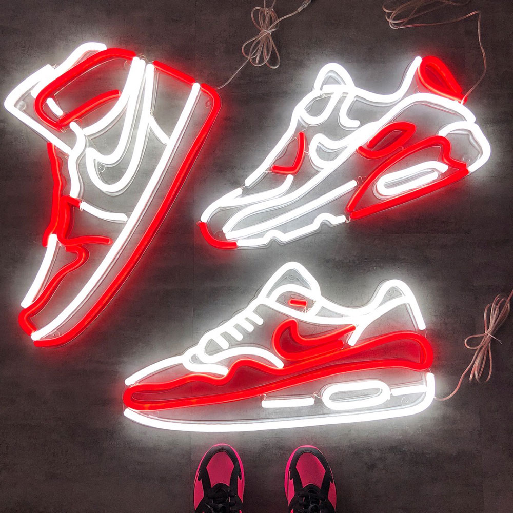 Néon LED Air Max et Air Jordan rouge et blanc