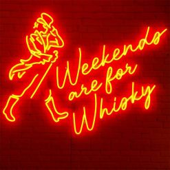 création néon led rouge pour la marque de whisky johnny walker