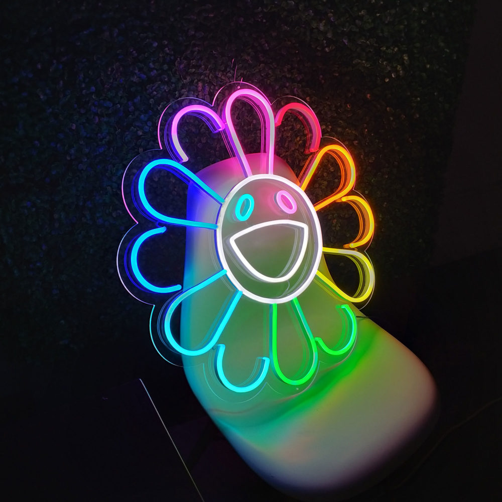 flower takashi murakami neon led la maison du neon