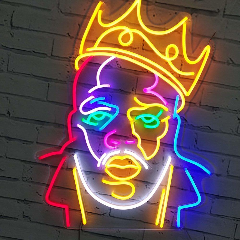portrait notorious big neon coloré
