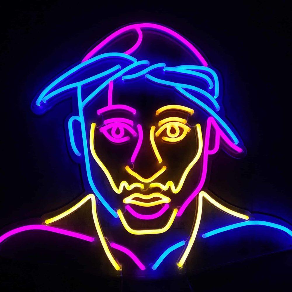 PORTRAIT Neon Tupac coloré