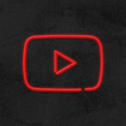 logo youtube neon led social media la maison du neon