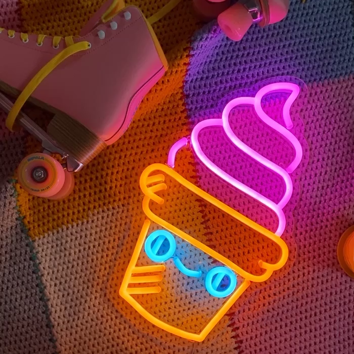 neon cornet de glace kawaii