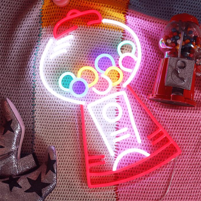distributeur chewing gum old school neon allumé
